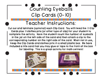 Counting Eyeballs Clip Cards (0-10)