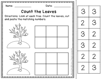 Math dollar deal - Counting Fall Leaves 0-30 Practice Set (math menu)