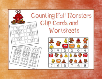Counting Fall Monsters- 10 Clip Cards and 2 Worksheets