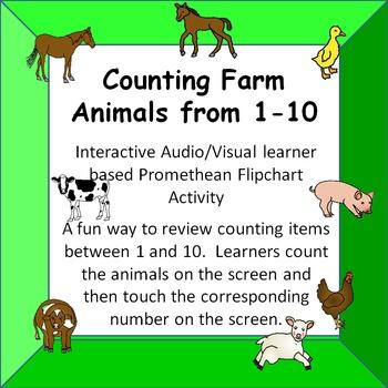 Counting Farm Animals  1-10  Fun Interactive Audio/Visual Promethean Activity
