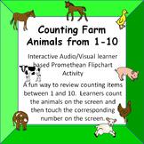 Counting Farm Animals  1-10  Fun Interactive Audio/Visual
