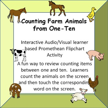 Counting Farm Animals one-ten (words for numbers).  A/V Promethean Activity