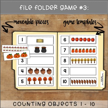 Counting File Folder Games FALL THEME