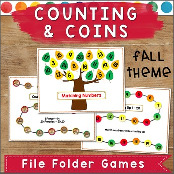 Counting and Coins File Folder Games FALL THEME