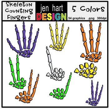 Counting Fingers 0-5 Skeleton Style Clipart