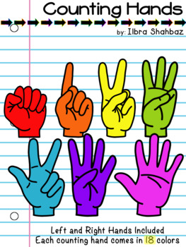 Counting Fingers Clip Art (Rainbow Colors)