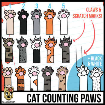 Counting Fingers Clip Art: Cat Paws and Claws