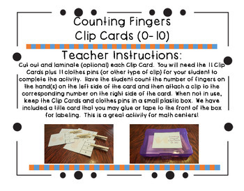Counting Fingers Clip Cards (0-10)