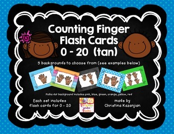 Counting Fingers Flash Cards 0 - 20 (tan)