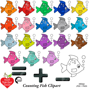 Counting Fish Clipart, Colored Fish Clipart, Math Manipulatives, AMB-2247