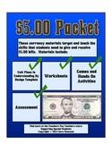 Counting Five Dollar Bills Money Math Packet