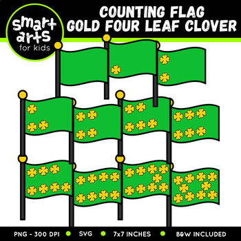 Counting Flag Gold Four Leaf Clover Clip Art