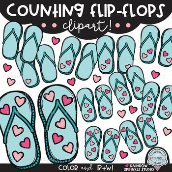 Counting Flip Flops Clipart {sandal clipart}