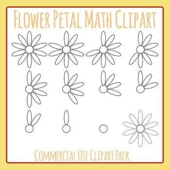 Counting Flower Petals Maths Clip Art for Commercial Use