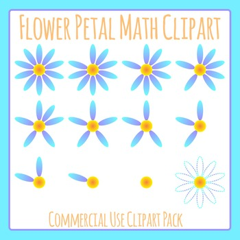 Counting Flower Petals in Color Maths Clip Art for Commercial Use