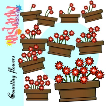 Counting Flowers Clipart