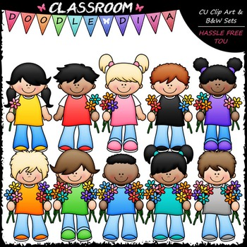 Counting Flowers Kids Clip Art - Counting & Math Clip Art & B&W Set