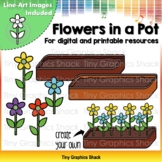 Counting Flowers in a Pot Clip Art (for Printable and Movable)