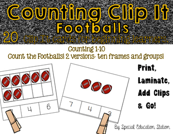 Counting Footballs Clip It {A Beginning Work Task)