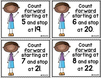 Counting Forward Task Cards Math Talk Cards