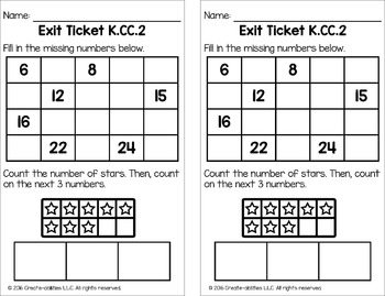 Counting Forward Math Tasks and Exit Tickets