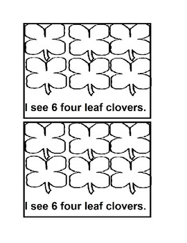 Counting Four Leaf Clover Emergent Reader Book in black&white