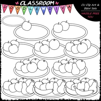 (0-10) Counting Fruit Clip Art - Sequence, Counting & Math Clip Art & B&W Set