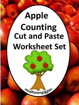 Apples Unit Kindergarten Math Centers Cut and Paste Worksh