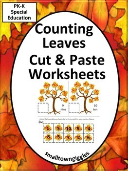Fall or Autumn Leaves Cut and Paste Kindergarten Math Center Counting Worksheets