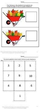Fall Leaves Math Center Cut and Paste Kindergarten Special Education