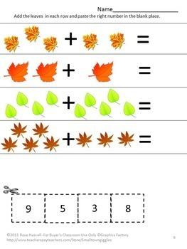 Fall Activity Worksheets For Kindergarten