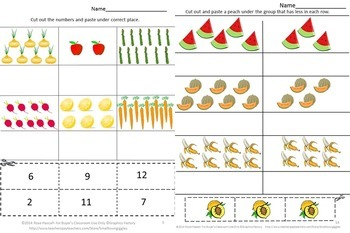 Counting,Fruits Vegetables, Cut and Paste Activities,Special Education