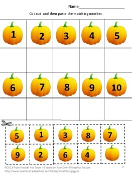 Math Cut and Paste Fall Counting Pumpkins Preschool Special Education