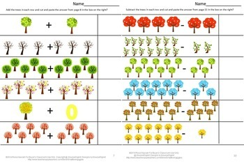 Trees, Math Cut and Paste Activities,Special Education,Fall Centers Kindergarten