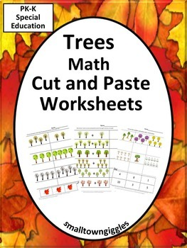 Counting Trees Cut and Paste Math Centers Worksheets Addit