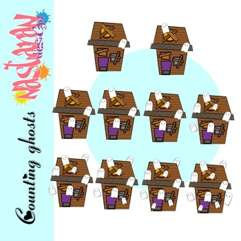 Counting Ghost House Clip Art - Halloween Clipart