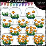 (0-10) Counting Goldfish Clip Art - Counting & Math Clip Art & B&W Set