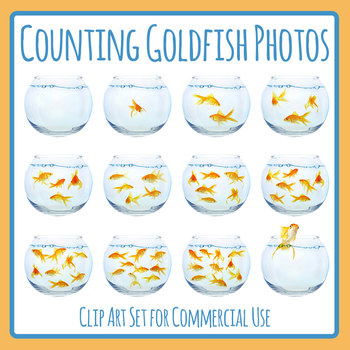 Counting Goldfish in Bowls Photographic Clip Art Set Commercial Use