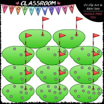 (0-10) Counting Golf Balls Clip Art - Counting & Math Clip Art & B&W Set