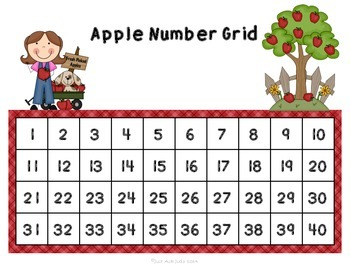 Counting Grids- Count by 1's to 20, 30, or 40- Apple Theme