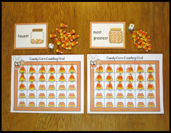 Count to 20, 30, or 40, Candy Corn Grids