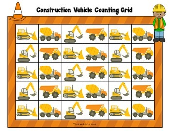 Counting Grids- Count by 1's to 20, 30, or 40- Construction Vehicle Theme