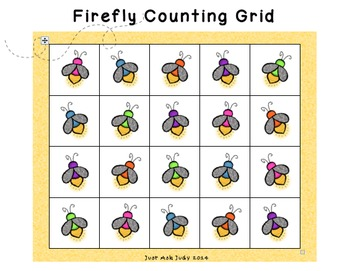 Counting Grids- Count by 1's to 20, 30, or 40- Fireflies