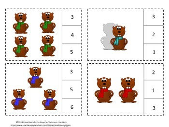 Groundhogs Counting to 20, Count and Clip, Kindergarten Math, Special Education