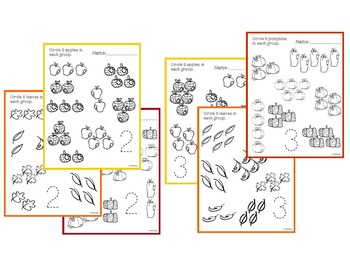 Counting Groups Bundle PreK Worksheet Bundle - Fall Themed