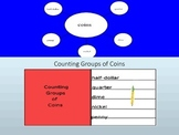 Money:  Counting Groups of Coins Interactive Lesson