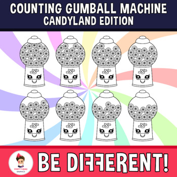Counting Gumball Machine Clipart (Candyland Edition)
