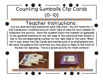 Counting Gumballs Clip Cards (0-10)