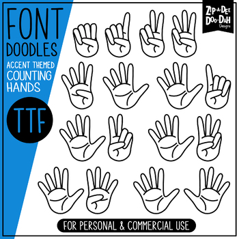 Counting Hands / Counting Fingers Doodle Font {Zip-A-Dee-Doo-Dah Designs}