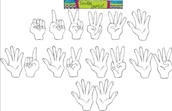Counting Hands Stamp Clipart